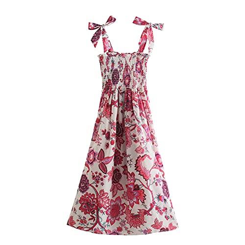 Vestido de verano para mujer, casual, vestido de playa, vestido maxi para mujer, casual, bohemio, floral, manga corta, volantes, vestido de playa, suelto, vestido de tirantes, C-rojo, S