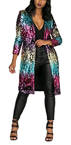 Womens Spring Fall Cover Up Long Sleeve Sparkling Sequins Long Loose Open Front Cardigan Coat Party Clubwear XL