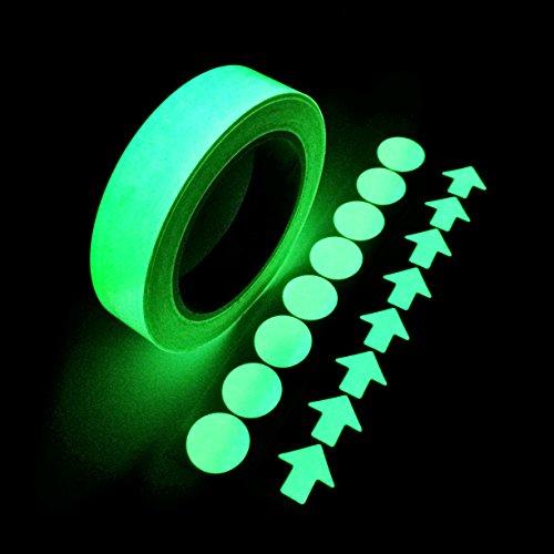 Im Dunkeln leuchten Selbstklebeband, grünes Licht Leuchtband Aufkleber 20 Fuß X 0,8 Zoll Abnehmbare wasserdichte langlebige Wearable Stabile Sicherheit Fluorescent Emergency Roll