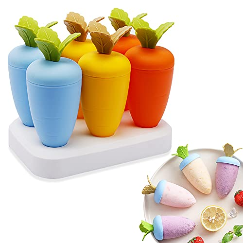 DIY Popsicle Mold Mini moldes de congelador para helados y aperitivos,Molde para Helados, -Helado Silicona,Reutilizable Moldes Helados Juego de Moldes 6 Pack,Caseros para Bebe y Adultos-6 zanahorias