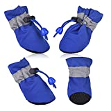 SMARTHING 4 PCS Dog Cat Shoes with Reflective Anti Slip Sole Rain Snow Boots Adjustable Fastening Straps Breathable Socks Sneaker Paw Protector for Small Dogs Puppy Cats(M, Blue(Soft))