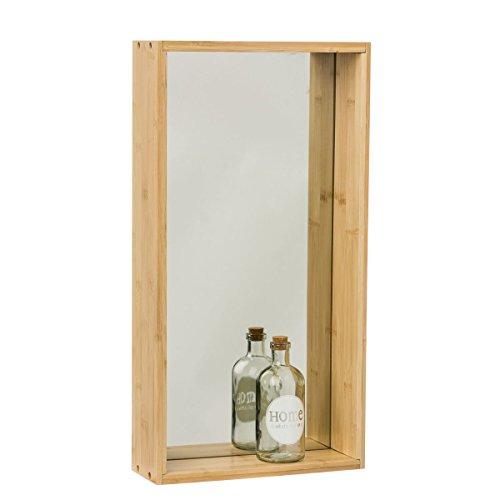 miaVILLA Wandregal Bamboo - Regal mit Spiegel - Bambus - - Größe klein