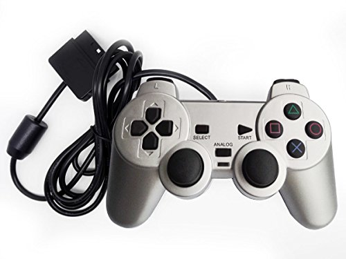 Bowink Wired Gaming Controller for Ps2 Double Shock - Silver