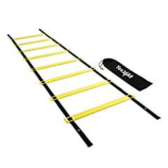 HEAVY DUTY LADDER: Constructed of nylon speed ladder with durable plastic rungs for agility and quickness training FULLY ADJUSTABLE 8, 12 AND 20 RUNG DESIGN: Up to 15-inch adjustment from rung to rung with nylon straps for different levels, skill set...