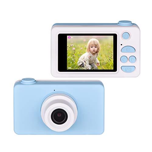 Upgrow Kinder Kamera Niedlich Digital Kamera 2.0 Zoll LCD Display, HD 1080P Kamera für Kinder mit Cartoon Aufkleber, Kinder Geschenk (Blau ohne Schutztasche)