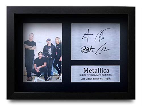 HWC Trading Metallica A4 Enmarcado Regalo De Visualización De Fotos De Impresión De Imagen Impresa Autógrafo Firmado por Aficionados A La Música