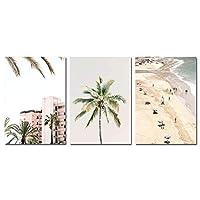 スカンジナビア沿岸ビーチキャンバスプリントウォールアート風景ポスター北欧絵画写真モダンなリビングルームの装飾(30x50cm)3pcsフレームレス