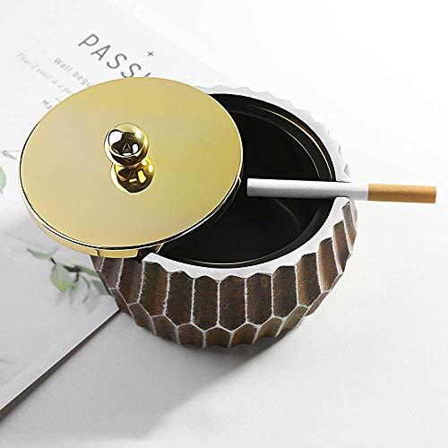 Suytan Porta Cigarrillos Cenicero a Prueba de Viento con Tapa de Metal, Porta Cenicero Redondo Creativo, Porta Cenicero Retro para Fumadores, Ceniceros de Decoración de Escritorio para Cigarrillos Y