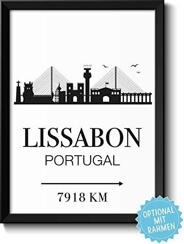 Lissabon Portugal Skyline mit individueller Entfernungsangabe