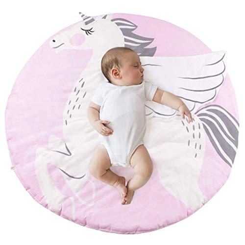 Tappeto per Bambini, tappeto circolare morbido e traspirante, tappeto da gioco per bambini con tappetino strisciante a forma di animale carino per la decorazione della camera dei bambini - 90x90 cm
