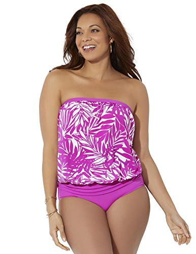 Swimsuits For All Women's Plus Size Bandeau Blouson Tankini Set 24 Magenta Palm, Beach Rose