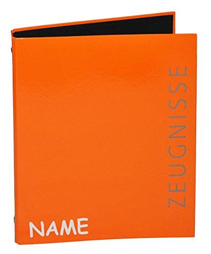 alles-meine.de GmbH Ringbuch / Sammelordner  Zeugnisse  incl. Name - ORANGE A4 für Dokumente / Zeugnis / Zeugnisheft / Dokumentenmappe / Zeugnismappe / Zeugnisordner - Ordner R..
