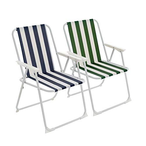 Harbour Housewares Fauteuils de Camping pliants - métal - Plage/Jardin - Rayures Bleues/Vertes - Lot de 4