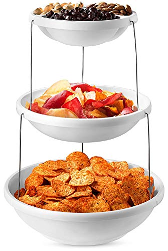 3 Tier Collapsible Serving Tray Party Bowls - Plastic Serving Platter Tiered Serving Stand for Salad, Snacks and Fruit - Appetizer Dessert Plates Candy Display