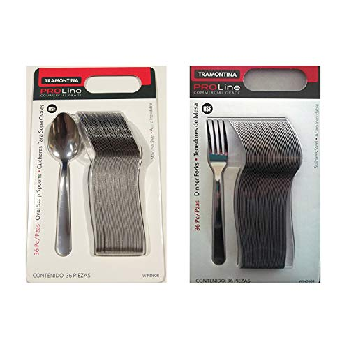 Tramontina Pro Line 36 Dinner Forks Commercial Grade Stainless Steel + 36 Spoon