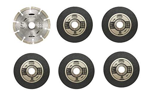 Ryobi Schleifscheiben für Winkelschleifer RAK6AGD125 (1x Diascheibe, 5x Trennscheibe, für Winkelschleifer R18AG7-0) 5132003149