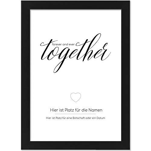 Personalisiertes Poster, Motiv: forever together Herz, Größe 21x30 cm, BILD MIT RAHMEN (schwarz) Geschenk für Sie oder Ihn zum Hochzeitstag, Valentinstag, Jahrestag oder Liebeserklärung