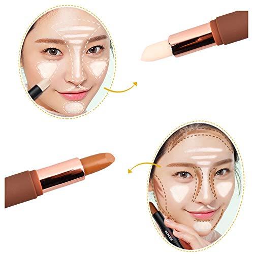 ❤️Vovotrade❤️❃❤️ 3D Poudre Teint Maquillage Double Tête Anti-cernes, Natural Crème Visage Yeux Concealer Effet Contour Concealer Stick de Fondation Masquer Blemish Pores Couleur Correcteur Bâton