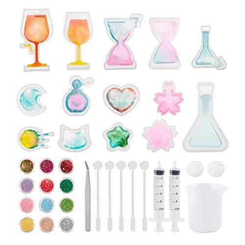 PandaHall Kit de moldes de resina UV, 10 moldes de resina epoxi con luna, corazón, estrella, reloj de arena, gato, copa de vino, botella de perfume, tazas de medición de silicona, jeringa dispensadora