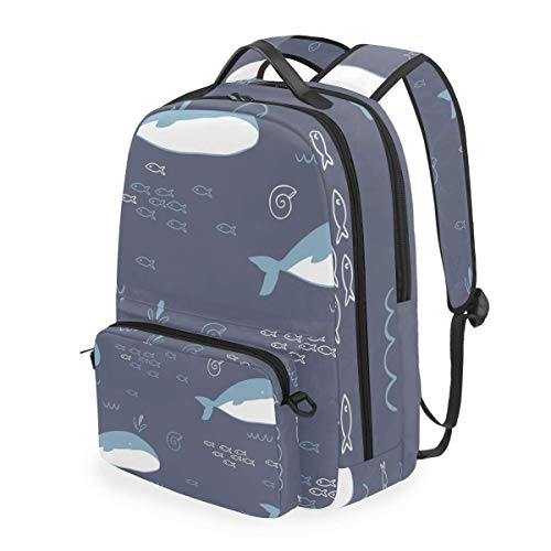 hangong Seamless Pattern Whale,School Backpack with Removable Pencil Case, 2 in 1 Travel Daypack Fits 15 Inch Laptop for Girls or Boys