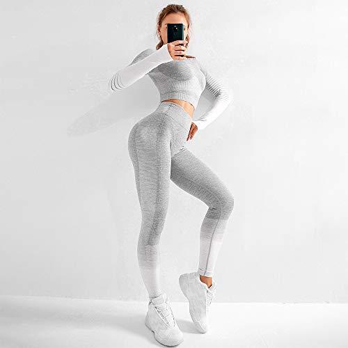 Dames Naadloze Yoga Pak Cover, Gebreide Billen Elastische en Tight Fitness Sportswear, met Sneldrogende en Vormende Functies