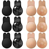 ONESING 6 Pairs Adhesive Bra Invisible Bra Strapless Backless Breast Lift Nipplecovers Sticky Rabbit Bra Reusable Breast Pasties for C/D Cup Nude and Black
