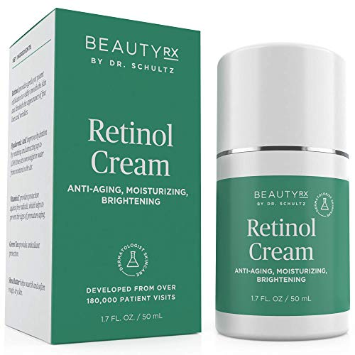 41BjHhhW4YL - BeautyRx by Dr. Schultz Retinol Cream Moisturizer 2.5% for Face & Eyes for Wrinkle, Fine Lines & Dark Spots w/ Hyaluronic Acid & Vitamin A. Best Night & Day Anti-Aging Treatment for Women & Men 1.7 oz