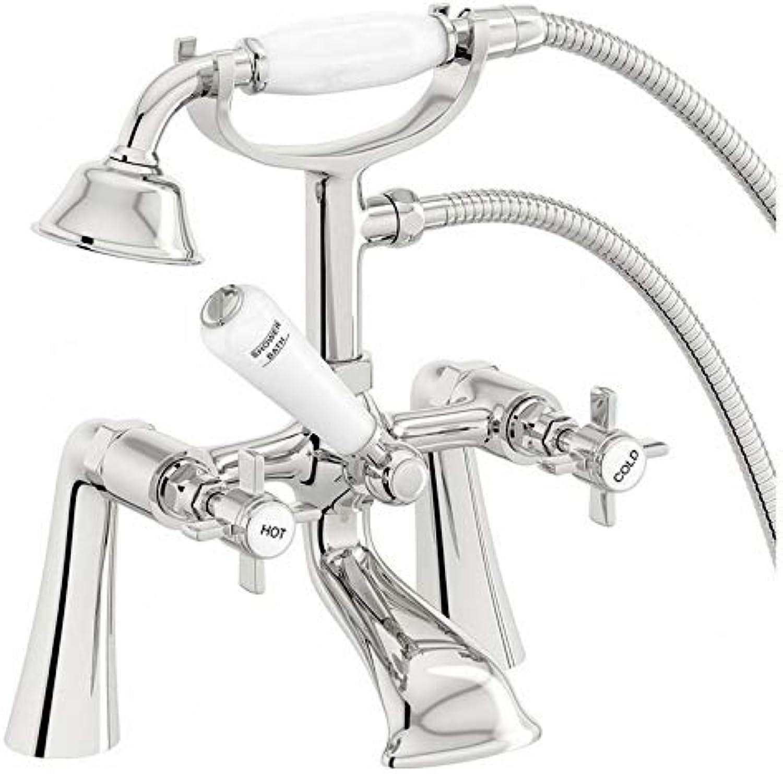 Victorian Traditional Bathroom Bath Shower Filler Mixer Tap Handset Chrome
