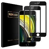 Nimaso iPhone SE 第2世代 (2020) / iPhone 8 / 7 用 全面保護フィルム 強化ガラス 【フルカバー】保護フィルム 硬度9H/高透過率 ( iPhoneSE 第2世代 / iPhone8 / iPhone7 用 フィルム, 2枚セット ) (ブラック)