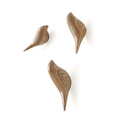Baffect Patère mural multifonctions en résine motif oiseaux pour suspendre manteaux, serviettes, chapeaux, sacs (lot de 3), Résine, bois, 10*4.5*7