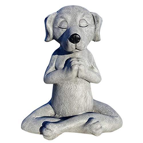 Meditation Statue Katze Statue Hunde-Statue Zen Deko Figur Harz Meditation Yoga Decor,Meditation Yoga Zen Hund Statue Hund Buddha,Feng Shui Ornament Skulptur,Sammlung Handwerk,Garten Dekor (A/Größe L)