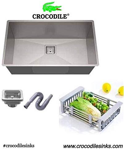 CROCODILE 304 Single Bowl Steel Handmade Sink (24x18x10 inches & Other Sizes))