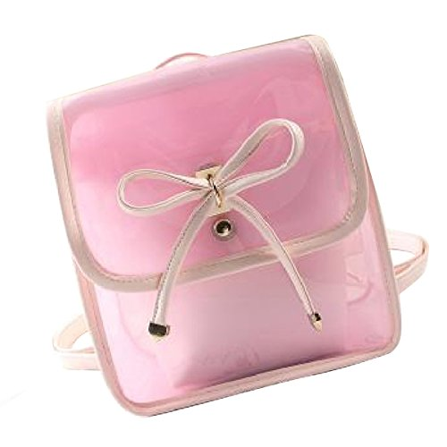 Fletion estate colore della caramella in PVC trasparente zaino spiaggia Borsa da viaggio di svago leggero zaino impermeabile borsa per la scuola per le donne ragazze adolescenti rosa Rosa taglia unica