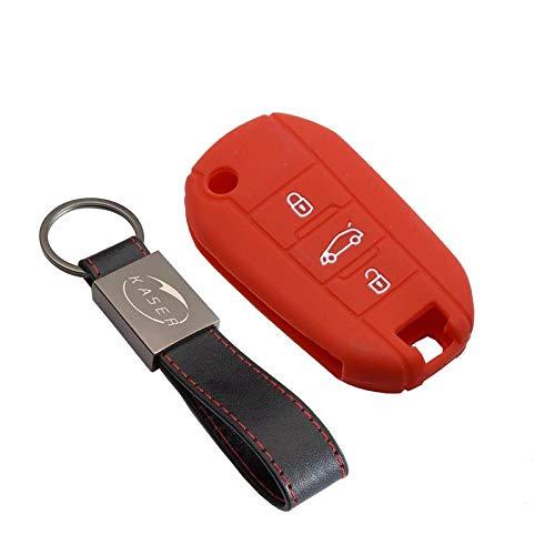 Cover Guscio Chiave Silicone per Peugeot 207 307 407 308 508 Citroen C1 C2 C3 C4 3 Tasti Portachiavi Custodia Morbido Protezione Telecomando Auto (Rosso)