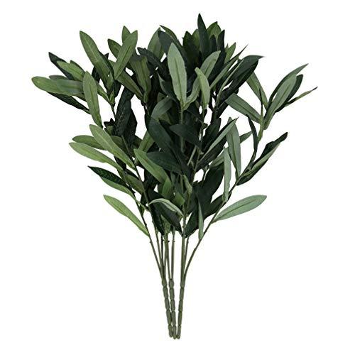 Wakauto Künstliche Olivenzweig Grün Blätter Stamm Gefälschte Pflanze Olivenbaum Zweige Fotografie Requisiten für Hausgarten Büro Hochzeit Grün Dekorationen