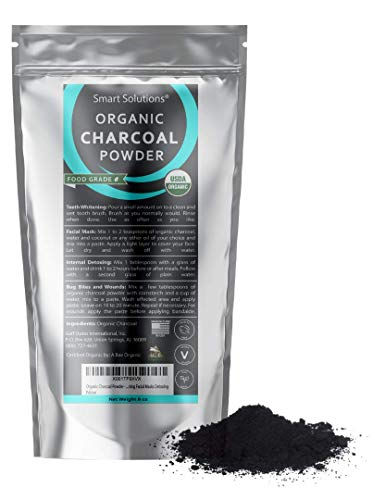 Smart Solutions Organic Charcoal Powder, 1 lb - USDA Certified Organic Bulk Food Grade Powder, Non-GMO, Vegan, No Fillers - 100% Pure Use for Teeth Whitening, Facial Masks, Detoxing