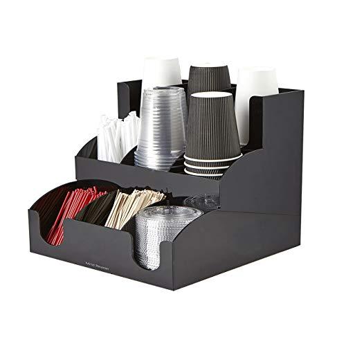 Mind Reader 9 Compartment Coffee Condiment and Accessories Organizer Black