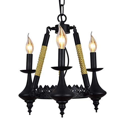 Life Equipment Ventilador creativo Lámpara colgante Loft Vintage Retro Lámpara colgante Diseño industrial Remolque Lámpara colgante Lámpara con pantalla de hierro E27 Lámpara de techo negra Comedor