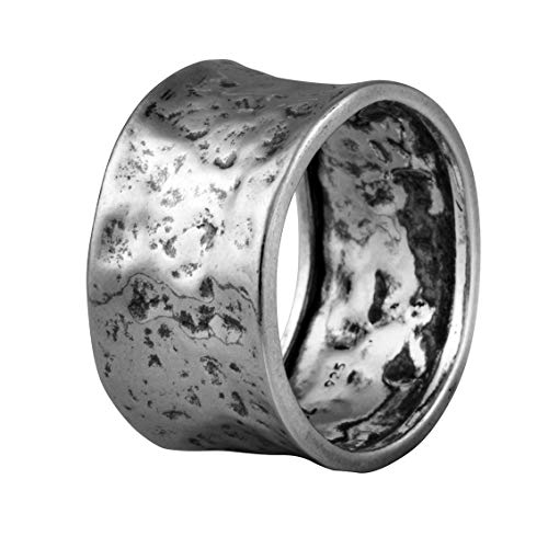 PZ Paz Creations 925 Sterling Silver Ring For Men | Hammered Design Wide Band | Hypoallegenic Made In Israel (9)