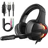 FISHOAKY Gaming Headset für PS4 PC Xbox One Computer, LED Licht Kabelgebundenes Gaming Kopfhörer mit Mikrofon, 7.1 Surround Sound Noise Cancelling Headset für Laptops Phone Playstation 4 (schwarz)