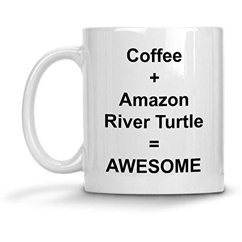 N\A Café + Tortuga del río Amazonas = Taza Impresionante - Taza de café con Leche de 11 oz