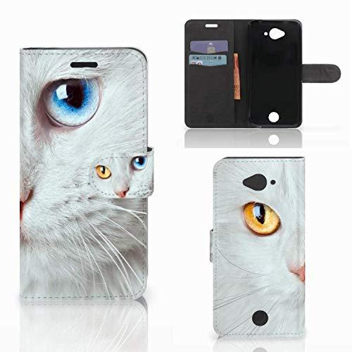 B2Ctelecom Schutzhülle kompatibel für Acer Liquid Z530   Z530s Lederhülle Weiße Katze - Personalisierung mit Ihrem Wunschnamen oder -tekst