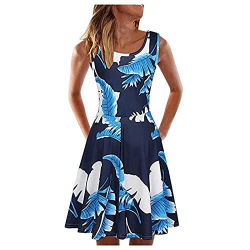 ERNUMK Vestido de verano para mujer, largo hasta la rodilla, sin mangas, vestido de playa, bonito y elegante, con estampado floral, informal, suelto, vestido de noche, línea A, mini vestido, E-azul, L