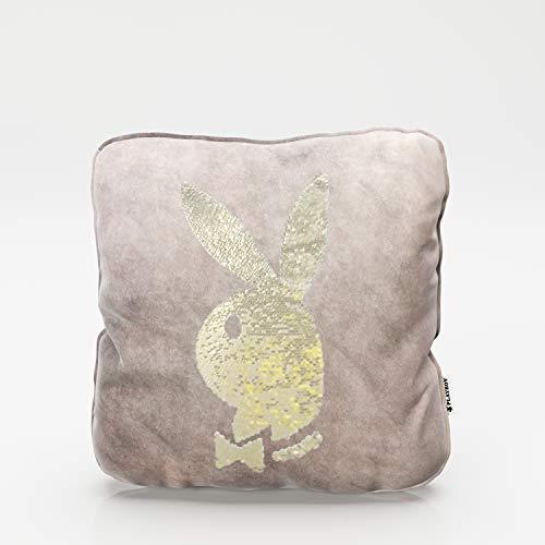 PLAYBOY 687103RQ Throw Inclul - Relleno con Cabeza de Conejo de Lentejuelas girando Cuarzo Rosa, 40 x 40 x 10 cm