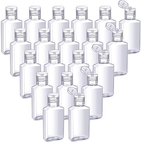 50 Piezas de Botellas de Viaje Vacías Transparentes Contenedor Vacío con Tapa Abatible de 30 ml/ 1 oz Botellas Portátiles Recargables con Tapa Abatible para Viajes de Negocios de Acampar al Ai