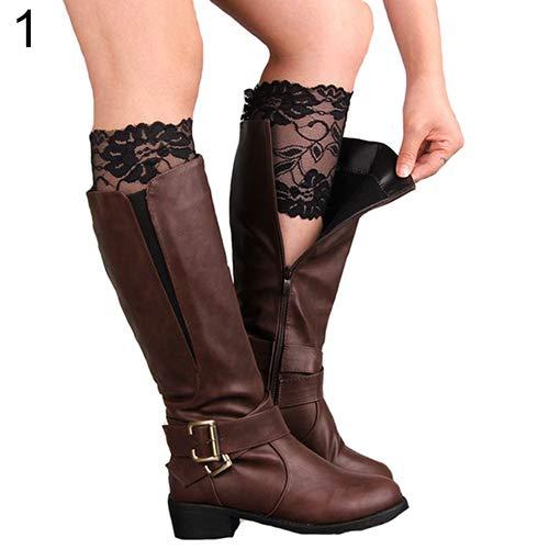 KaariFirefly Fashion Damen Mädchen Stretch Blumen Spitze Trim Stiefel Manschetten Beinstulpen Top Socken Einheitsgröße Schwarz