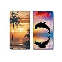 chatte noir iPhone11 ケース 手帳型 おしゃれ ペア イルカ いるか ドルフィン 海 ビーチ ハワイ ヤシの木 サンセット フォト A シボ加工 高級PUレザー 手帳ケース ベルトなし