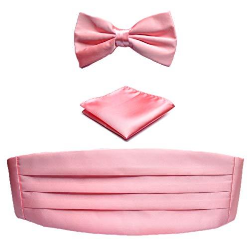 KOOELLE Herren Hochzeit, formell, klassisch, solide, vorgebundene Fliege, Taschentuch, Kummerbund Set Gr. Einheitsgröße, Blush Pink