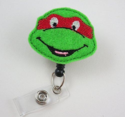Ninja Turtle Face Red - Nurse Badge Reel - Retractable ID Badge Holder - Nurse Badge - Badge Clip - Badge Reels - Pediatric - RN - Name Badge Holder