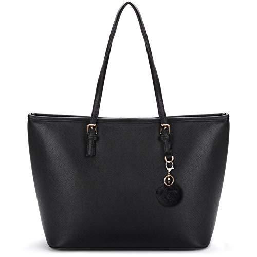 COOFIT Shopping Bag Donna, Borsa Tote Shopper Grande in PU Pelle Semplice Grandi Capacità Moda Tote Bag Borse Nera Grande Borsetta Tracolla con ciondolo pompon